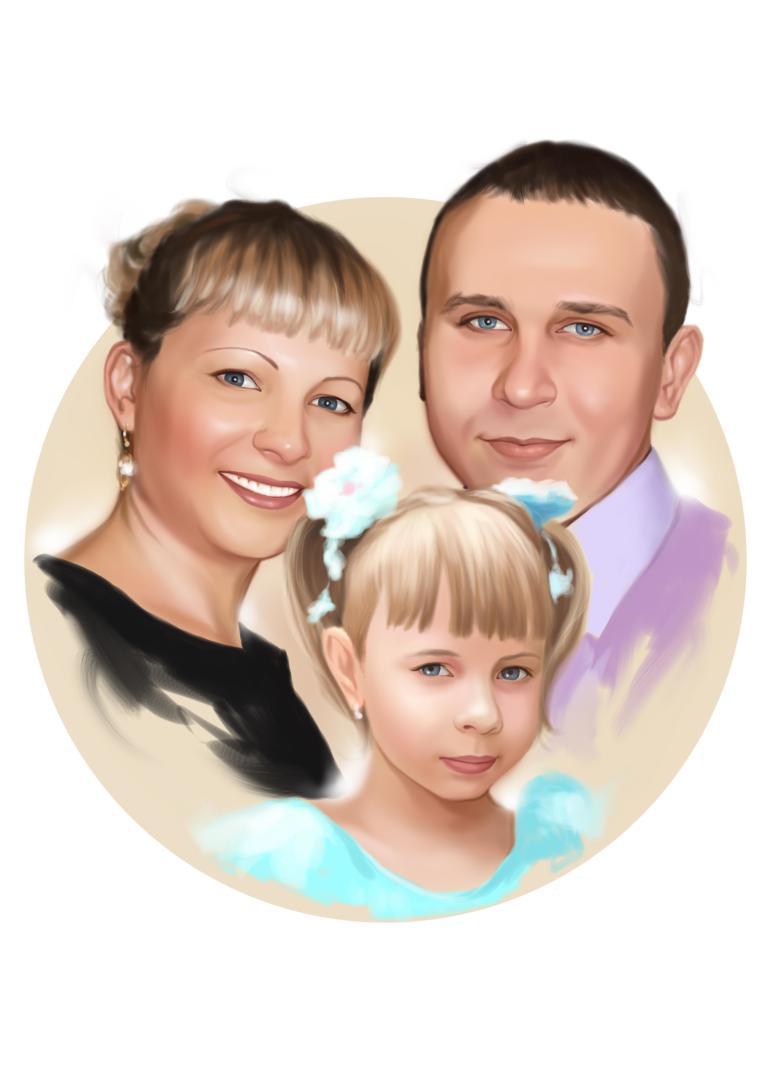 Семейный портрет по фото на холсте в Костроме — правильный подарок!