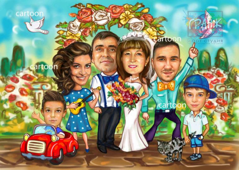 Шарж по фото на годовщину свадьбы на заказ в Костроме…