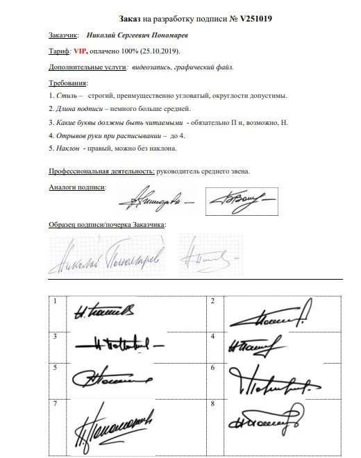Разработка личной подписи онлайн Кострома